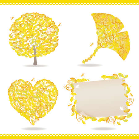 late autumn: set of ginkgo Illustration