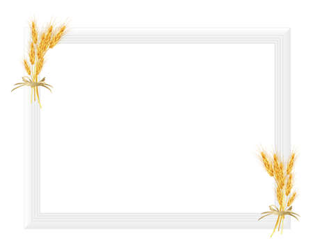 rice plant: picture frame with crop Illustration
