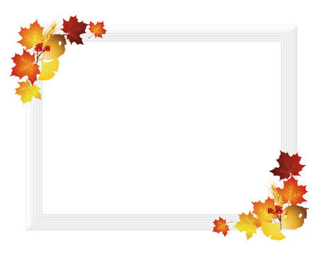 picture frame with fallen leaves Vector