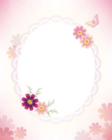 cosmoses and lace frame  イラスト・ベクター素材