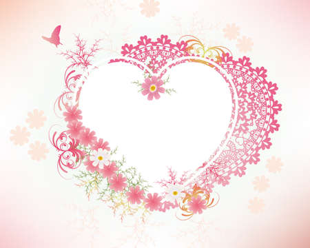 cosmoses and heart lace frame Vector