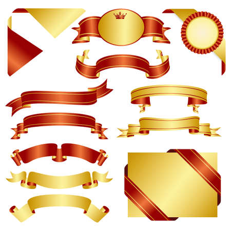 set of red and gold ribbon Vectores