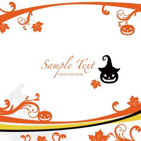 autumn leaf frame: Halloween background