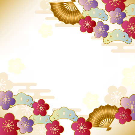 japanese fan: japanese auspicious motif