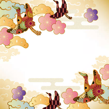 early spring: japanese motif background Illustration