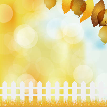 fallen leaves background with fence Stock Vector - 15216054