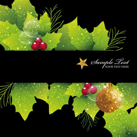 holiday card: holly background