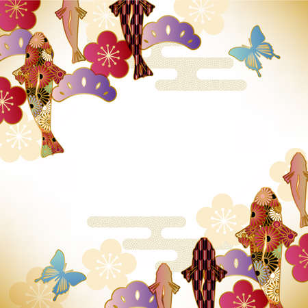 chrysanthemums: japanese motif background Illustration