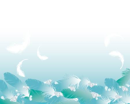 feather and jewelry background Ilustracja