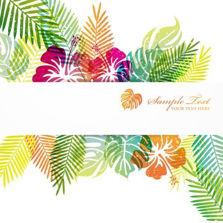 熱帯: hibiscuses とモンステラの背景  イラスト・ベクター素材