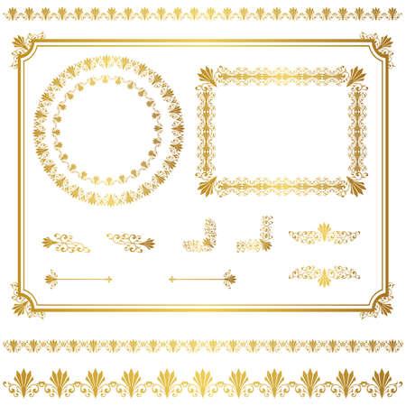 ゴールド フレーム セット  イラスト・ベクター素材