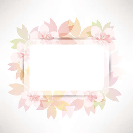 early spring: cherry blossom flowers background card