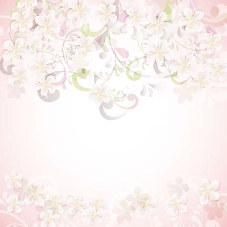 light pink: cherry blossom flowers background card
