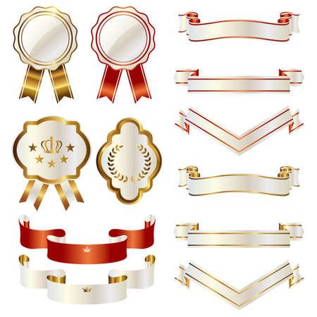 set of ribbon and emblem Vector