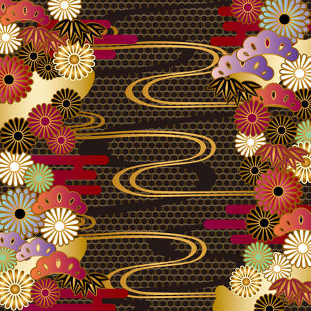 japanese motif background Illustration