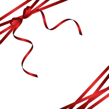 赤いリボンの背景  イラスト・ベクター素材