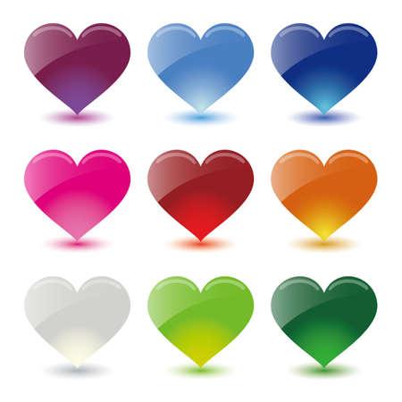 心臓のアイコンを設定  イラスト・ベクター素材