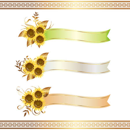 a sunflower: sunflower and ribbon Illustration