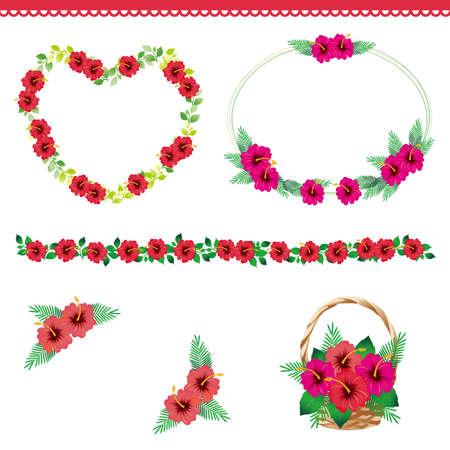 points of interest: hibiscus decoration Illustration