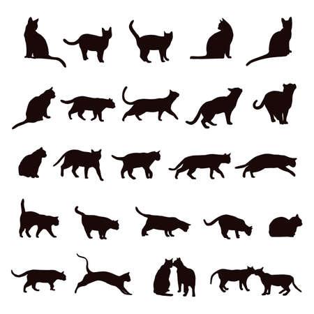 silueta de gato: juego de gato Vectores