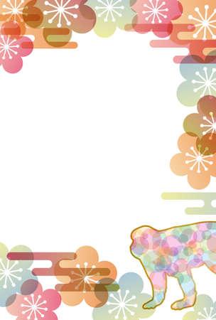 japanese apricot flower: monkey background
