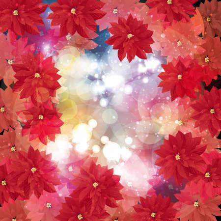 neon plant: poinsettia decorations background Illustration