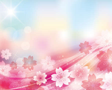 subject matter: cherry blossom and blue sky background
