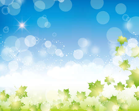 blue sky and green background