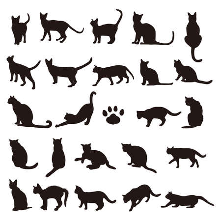 고양이 실루엣 세트 스톡 콘텐츠 - 80954828