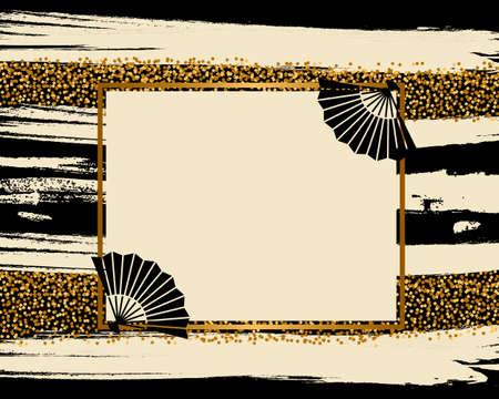 vector background of golden japanese pattern Vettoriali