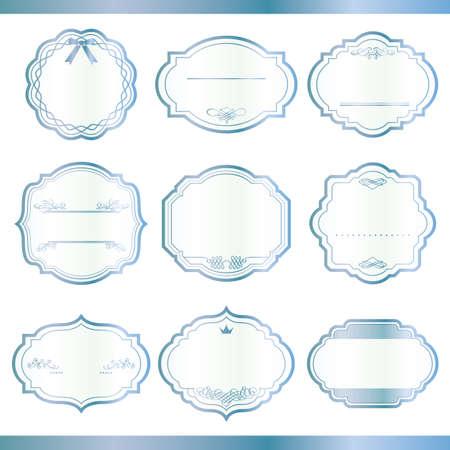 vector set of pale blue labels Ilustração Vetorial