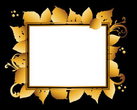 golden frame background of leaves