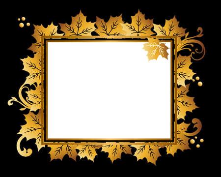 golden frame background of maple Ilustração