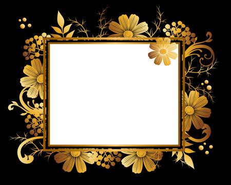 golden frame background of  cosmoses Ilustração