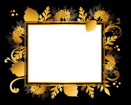 golden frame background of cluster amaryllis