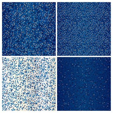 Set of blue glittering