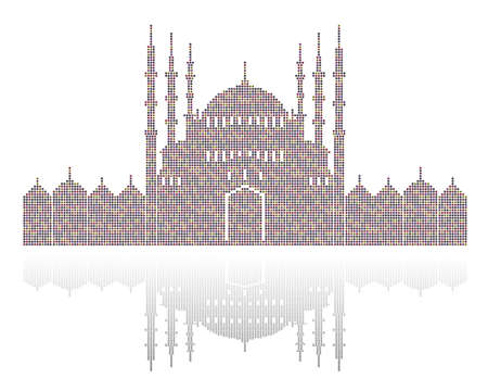 Stippled illustration of a mosque with dome and minaret