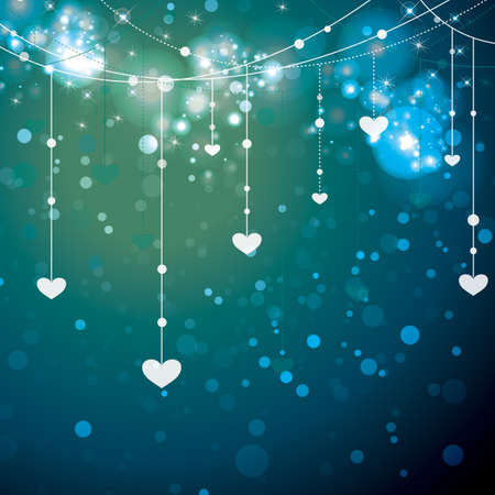 glittering vector background with heart ornaments  イラスト・ベクター素材