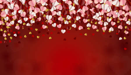 Background with heart ornaments and glitter