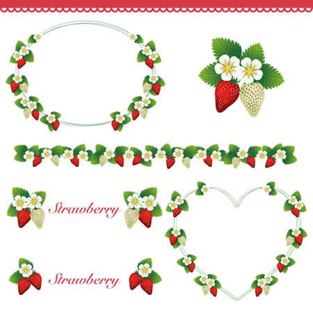background decoration set of strawberry