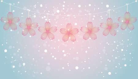 background illustration of cherry blossoms Foto de archivo - 141089936
