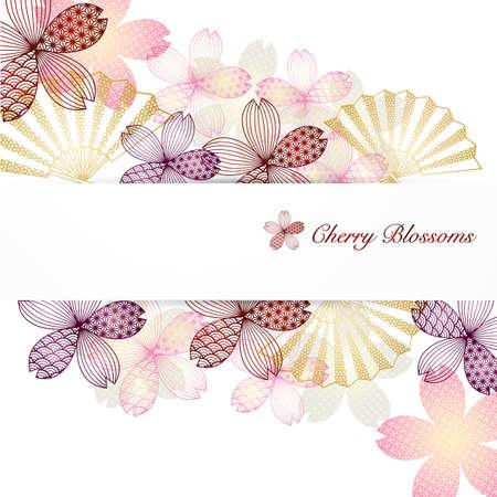 background illustration of cherry blossoms Foto de archivo - 142243945
