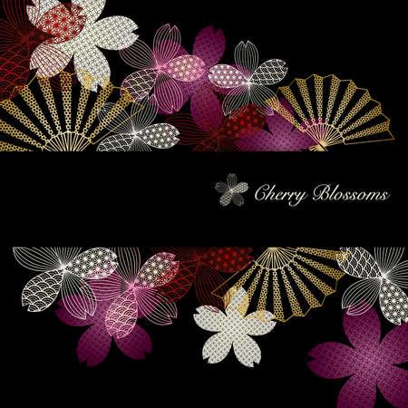 background illustration of cherry blossoms Foto de archivo - 142252254