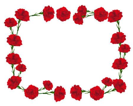 rectangular frame of carnations illustration Vectores