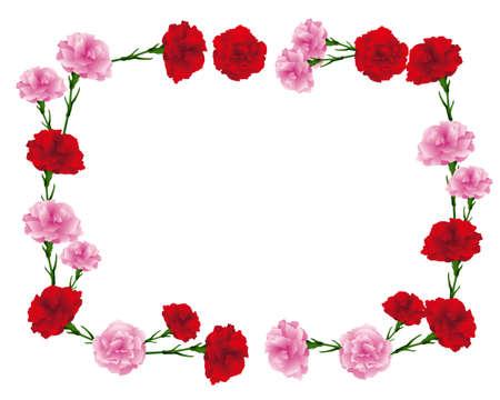 rectangular frame of carnations illustration