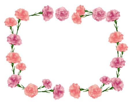 rectangular frame of carnations illustration Foto de archivo - 142275318