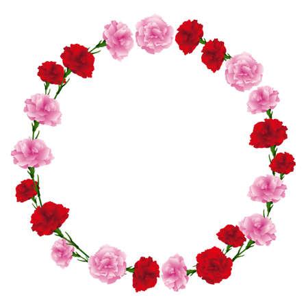 circle frame of carnations illustration Foto de archivo - 142275327