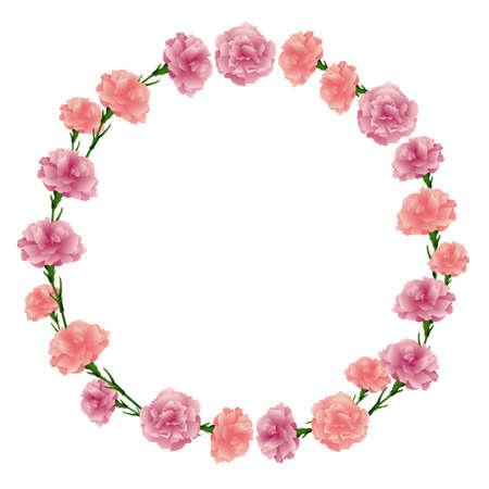 circle frame of carnations illustration Foto de archivo - 142275326