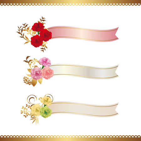 decoration of carnations illustration with ribbon Vectores