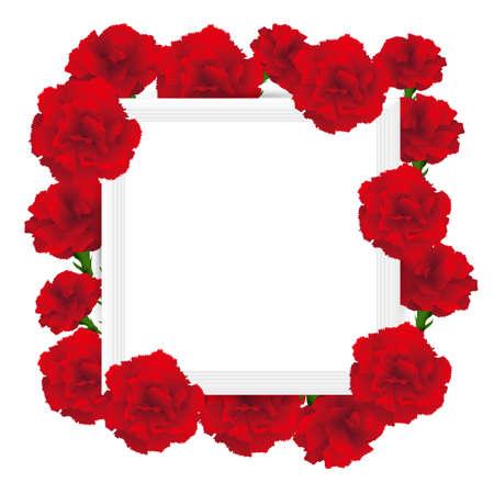 art frame with carnations illustration Foto de archivo - 142527000